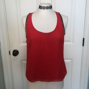 Gorgeous beaded Red Holiday Sleeveless Top